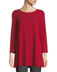 Eileen Fisher - Wide-sleeve Ballet-neck Viscose Jersey Tunic Petite - Lyst