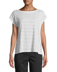 Eileen Fisher - Short-sleeve Thin-striped Linen Jersey Top - Lyst