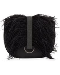 Brunello Cucinelli - Rounded Thick-strap Feather-trimmed Crossbody Bag - Lyst
