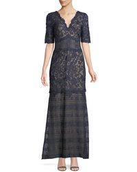 Tadashi Shoji - Scalloped Floral Lace V-neck Dress - Lyst