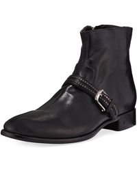 John Varvatos - Eldridge Buckled-vamp Leather Boot - Lyst