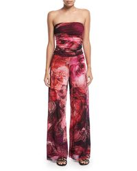 Fuzzi | Strapless Tulle Floral-print Jumpsuit Coverup | Lyst