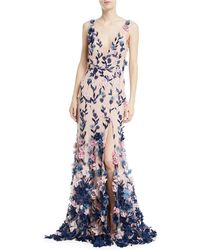 Notte by Marchesa | Embroidered 3d Chiffon Flower Trumpet Gown | Lyst