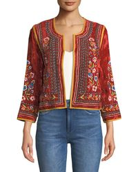 Velvet - Nita Embroidered Cropped Jacket - Lyst