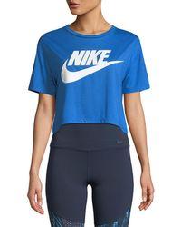 c209bd0af2e94 Lyst - Nike Sportswear Mesh Crop Top in Black