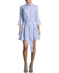 10 Crosby Derek Lam - Embroidered Bell-sleeve Striped Poplin Dress - Lyst