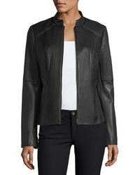Neiman Marcus - Ribbed Quilted Center-zip Leather Moto Jacket - Lyst