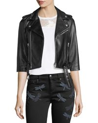 RED Valentino | 3/4-sleeve Dragonfly Leather Moto Jacket | Lyst