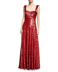 Valentino - Sleeveless Sequined Silk Sweetheart Gown - Lyst