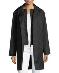 Jane Post - Button-front Long-sleeve Twill Midi Rain Coat W/ Bib - Lyst