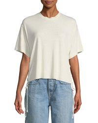 Kendall + Kylie - Lace-up Boxy Crewneck Tee - Lyst
