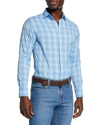 d9d4cbb374b8 Lyst - Peter Millar Men s Check Performance Sport Shirt in Blue for Men