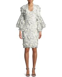Badgley Mischka - 3d Floral Appliqué Bell-sleeve Cocktail Dress - Lyst