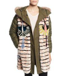 Army by Yves Salomon - Reversible Intarsia Parka Coat W/ Fur Trim - Lyst