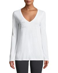 For Better Not Worse - Messy Bun Date Night Long-sleeve V-neck Tee - Lyst