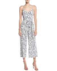 L'Agence - Jaelyn V-neck Camisole Straight-leg Animal-print Silk Jumpsuit - Lyst