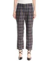 Brunello Cucinelli - Prince Of Wales Check Straight-leg Linen Pants With Paillettes - Lyst