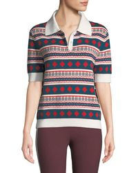 Carven - Printed Short-sleeve Polo Shirt - Lyst