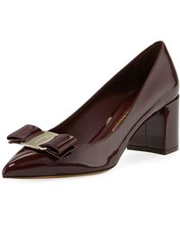 Ferragamo - Patent Leather Block-heel Bow Pointed-toe Pumps - Lyst