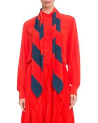 Givenchy - Long-sleeve Button-front Silk Blouse With Striped Detachable Scarf - Lyst