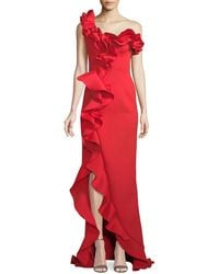 Jovani - One-shoulder Long Ruffle Gown - Lyst
