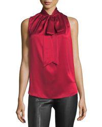 Helmut Lang | Tie-neck Sleeveless Silk Charmeuse Blouse | Lyst