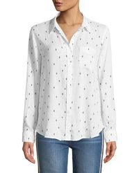 2408069b Lyst - James Perse Ribbed Side Button Down Shirt Cactus Flower in Red
