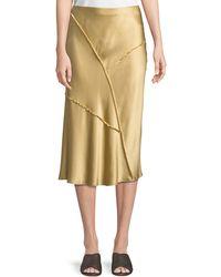 a583000505 Vince - Raw-edge Silk Midi Skirt - Lyst