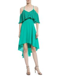 Halston - Cold-shoulder Dress W/ Pleated Flounce Top - Lyst