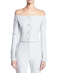 Brock Collection - Jackie Off-the-shoulder Gingham Suiting Jacket - Lyst