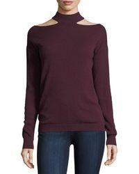 Autumn Cashmere - Slash Mock-neck Long-sleeve Cashmere Sweater - Lyst