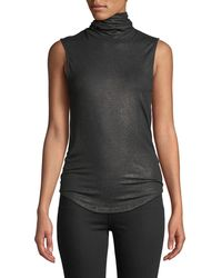 Neiman Marcus - Sleeveless Cotton-cashmere Turtleneck Top - Lyst