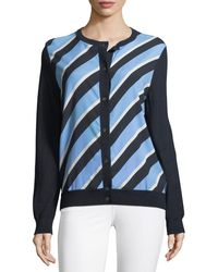 Neiman Marcus - Cashmere Striped-front Cardigan - Lyst