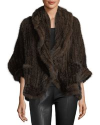 Adrienne Landau | Knit Mink Fur Wrap W/ Pockets | Lyst