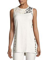 NIC+ZOE - Embellished Linen-blend Top - Lyst