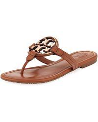 fde8567560bab Tory Burch - Miller Flat Metal Logo Slide Sandals - Lyst