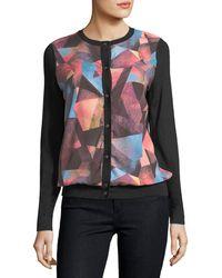 Neiman Marcus - Cashmere Geometric-print Cardigan - Lyst
