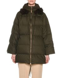 Agnona - Zip-front Wool-blend Flannel Puffer Coat W/ Fox-fur Trim - Lyst