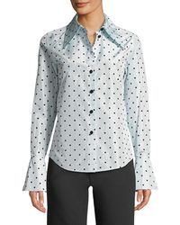 0969036fccd6e Marc Jacobs - Polka-dot Flocked Silk-taffeta Shirt - Lyst