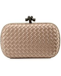0065e3c7637 Bottega Veneta - Medium Chain Knot Satin Clutch Bag - Lyst