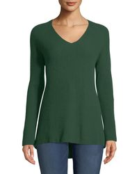 Neiman Marcus - Shaker-stitched Cashmere V-neck Sweater - Lyst