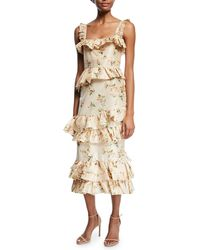 Brock Collection - Daria Floral-print Tiered Taffeta Corset Midi Dress - Lyst