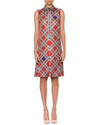 Bottega Veneta - Sleeveless Button-placket Irregular Check-print Silk Skimmer Dress - Lyst