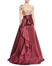 Marchesa notte - 3d Floral Embroidered Ball Gown W/ Cascade - Lyst