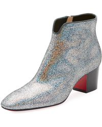 Christian Louboutin - Disco 70s Low-heel Glitter Red Sole Booties - Lyst