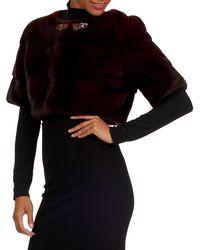 Zac Posen - Jewel-neckline Mink Fur Bolero Jacket - Lyst