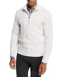 Kiton - Cashmere Cable-knit Half-zip Sweater - Lyst