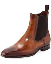 Neiman Marcus - Men's Calfskin Leather Chelsea Boot - Lyst