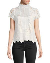 Nanette Lepore - Flower Lace Short-sleeve Top - Lyst