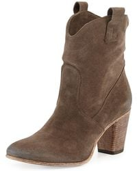 Alberto Fermani - Chiara Slouchy Suede Western Ankle Boot - Lyst